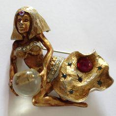 Rare vintage har gold plate enamel rhinestone genie fortune teller brooch