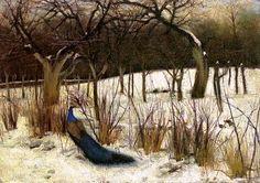 "Peacock in a Garden"" by Józef Czajkowski oil on canvas, x cm, Lviv Art Gallery, Lviv, Ukraine Winter Painting, Winter Landscape, Peacock, Oil On Canvas, Art Gallery, Polish, Outdoor Decor, Ukraine, Painters"