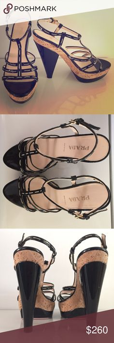 PRADA strappy heels Black patent leather, strappy sandal style, cork and black patent leather heel and platform. Lightly worn, one nick on bottom part of right foot (as seen in last photo). Authentic PRADA, made in Italy. 6 inch heel with 1.5 inch platform. Pricing negotiable. Prada Shoes Heels