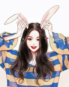 Anime or korean Pretty Anime Girl, Beautiful Anime Girl, Anime Art Girl, Anime Angel Girl, Manga Girl, Manga Anime, Cartoon Kunst, Cartoon Art, Kpop Drawings