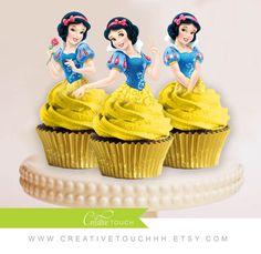 Nieve blanca Cupcake Toppers princesa por CreativeTouchhh en Etsy