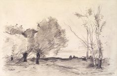 Willows and White Poplars, 1865-1872 Camille Corot