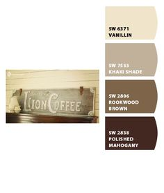 Paint colors from Chip It! by Sherwin-Williams Rook wood brown Kitchen Paint Colors, Interior Paint Colors, Paint Colors For Living Room, Paint Colors For Home, House Colors, Bedroom Colors, Exterior Colors, Exterior Paint, Coffee Theme Kitchen