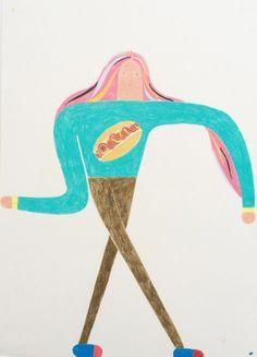 "how i dance (""Elastic Girl,"" color pencil on paper, 2014, Miju Lee)"