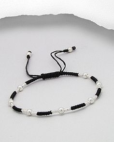 """$10.00 Product Features: Bracelet  Product Type: Bracelet Metal: 925 Sterling Silver Material: Cotton Waxed Thread Note: Adjustable from 6"""" to 9""""  Width: 4 mm."""