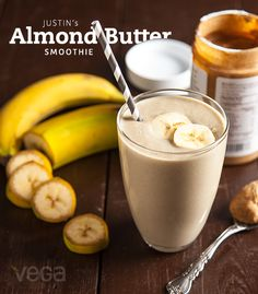Justin's Almond Butter Smoothie:  This almond butter smoothie recipe is packed with protein and makes a delicious breakfast or post-workout snack.#BestSmoothie #VegaSmoothie