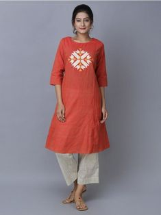 A Kurta to go with every occasion, be it printed embroidered or sequined. Shop from a wide Variety of most beautiful Kurtas in Pure Silk, Cotton & Linens & in vibrant colors. Embroidery On Kurtis, Kurti Embroidery Design, Kurta Designs Women, Blouse Designs, Dress Designs, Kurta Patterns, Kurta Neck Design, Kurti Designs Party Wear, Summer Outfits Women