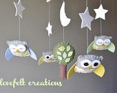 Baby Crib Mobile - Baby Mobile - Owl Mobile - Custom baby mobile - Pick your colors :). $97.00, via Etsy.