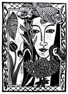 ARTFINDER: Nature Girl by Laurel Macdonald - I grew up on a farm with six sisters.  The girl in this image is a composite of me and my sisters.  I love to draw flowers and shells and birds, so I surroun...