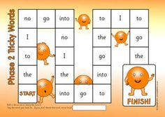 Printable tricky words board games for UK Phases 2-5. Children simply roll a die to move along the board and say the word they land on. If they can't they move back.