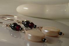 Gorgeous Pearl Garnet Hematite Movie Star Earrings by ksyardbird, $15.00