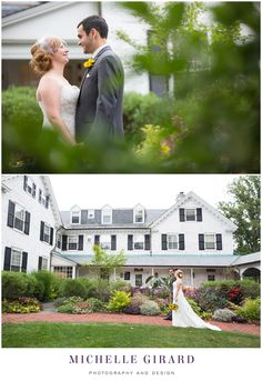 Portrait of the Bride and Groom by the Gardens Outside :: Fall Wedding on a Rainy Day :: Charming New England Inn Wedding at The Lord Jeffery Inn in Amherst, Massachusetts :: Michelle Girard Photography and Design