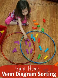 Still Playing School: Hula Hoop Venn Diagram Sorting Hula Hoop, Interactive Activities, Preschool Activities, Kindergarten Math, Teaching Math, Teaching Ideas, Early Learning, Fun Learning, Montessori
