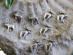 10 Metallanhänger Elch 1,75cm silberfarben, Charms und Perlen basteln,  Anhänger