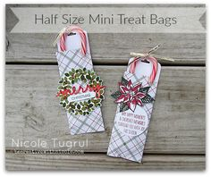 Awesome mini treat bags by Nicole using Stampin' Up's Mini Treat Bag Thinlits. These are decorated with Wondrous Wreath, Reason for the Season, Merry Moments dsp, Christmas Greetings Thinlits, Wonderful Wreath framelits, & more - all from Stampin' Up!