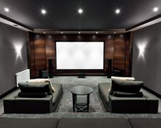 Home theater, wood and wall color