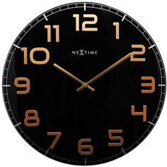 NeXtime Classy Black & Copper Wall Clock 30cm ($65) ❤ liked on Polyvore featuring home, home decor, clocks, nextime, black home decor, copper home accessories, black stand and nextime clocks