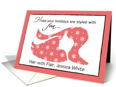 Hairdresser, hair stylist card to send to clients at Christmas!  Really great card! Love the idea!
