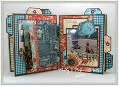 Mini album using Really Reasonable Ribbon and By the Sea Paper from Graphic 45.