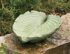 Cemented Leaf Birdbath