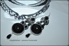 Earrings soutache Very rock , embroidery , handmade  https://www.facebook.com/pages/Virgolafashion-passione-homemade/469254379831797?ref=hl