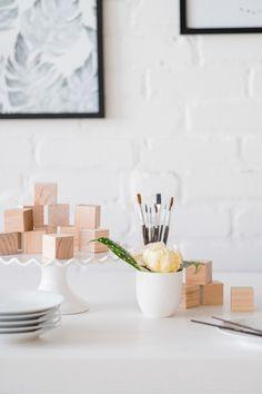 Baby shower activity: decorate wooden blocks