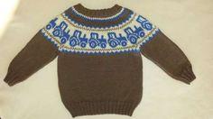 Ravelry: Traktorgenser pattern by Gerd Auestad Sweater Knitting Patterns, Crochet Cardigan, Knit Patterns, Knit Baby Sweaters, Boys Sweaters, Baby Boy Knitting, Knitting For Kids, Crochet Baby, Knit Crochet