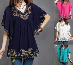 Hot Fashion Mexican Ethnic Floral EMBROIDERY Hippie Blouse DRESS Women Clothing   eBay