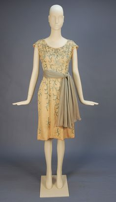 Ribbon and bead decorated silk cocktail dress, mid 20th cent