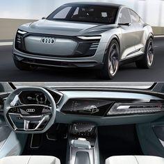 Audi e-tron Sportback Concept 2018 Audi apresenta um conceito versátil de um cupê elétrico de luxo no Salão de Xangai. O Gran Turismo de quatro portas e-tron Sportback é equipado com motor de 320 kW e combina elementos clássicos da marca a uma série de detalhes que são tendência: arquitetura eletrizante adaptada para a tecnologia em um pacote elétrico. O e-tron Sportback usa a configuração que também será adotado no futuro modelo de produção: um motor elétrico no eixo dianteiro e dois no trasei Electric Car Concept, Electric Cars, Auto Design, Automotive Design, Street Racing Cars, Audi A7, Future Car, Amazing Cars, Hot Cars