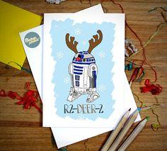 R2D2 Funny Star Wars Christmas Card 'R2 Deer 2' Star