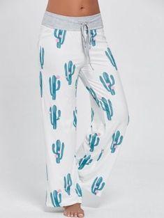 24e9982f314 Cactus Print Drawstring Palazzo Pants - White 2xl Palazzo Pants Online