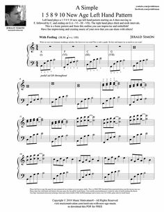 1 5 8 9 10 new age left hand pattern by Jerald Simon - Music Motivation Piano Lessons, Guitar Lessons, Piano Sheet Music, Piano Jazz, Jazz Chord Progressions, New Age Music, Thing 1, Learn To Play Guitar, Music Theory