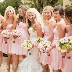 Bridesmaids Dresses: Pale-pink silk chiffon