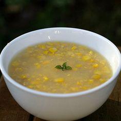 Vegetarian - Corn Soup - do not add onion or garlic use corn flour or cornstarch form a paste instead of maida my kids love it.
