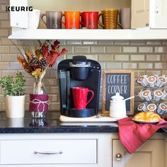 Our favorite stop is at our coffee corner in the kitchen every day! Brewing our favorite Keurig beverages from our brewer is one of our favorite moments each morning.