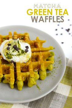 Make these matcha green tea waffles for a healthy, easy breakfast that is gluten and dairy free! Best part is, they are green and perfect for St. Patty's Day.