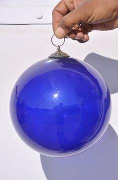Vintage 7'' Cobalt Blue Heavy Glass Original Kugel /Christmas Ornament , Germany