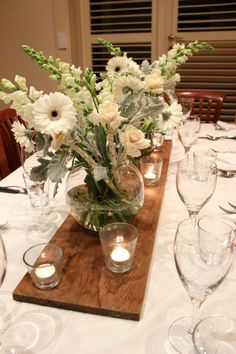 Rustic Table Setting, Timber Candles And Flowers.. Small Bunch