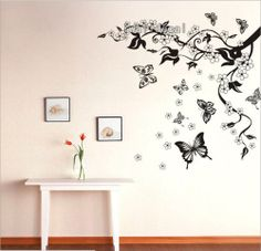 Beatiful Peach Blossom and Butterfly, Wall Decal, Removable Wall Poster, Stick Wall, Decoration in Drawing Room