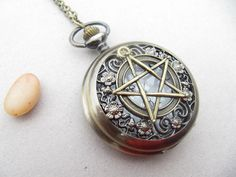 supernatural Pentacle Pocket Watch Necklace Jewelry by andongyan, $4.50