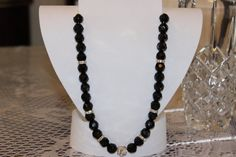 Black Glass Beaded Necklace with Crystals by AngeleDesignsLA, $25.00
