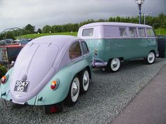 VW Barn Door Van pulling an original custom dual axle Beetle Shell Trailer.  This is all kinds of awesome!