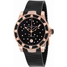 Ulysse Nardin Lady Diver 2014 Black Dial Black Rubber Ladies Watch ($28,000) ❤ liked on Polyvore featuring jewelry, watches, star jewelry, automatic movement watches, analog watches, black face watches and analog wrist watch