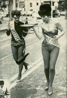 Champagne relay,   Modern Man magazine, 1964// A woman I babysat for wore a cocktail watress outfit like on the right. She hated it, but back then that was demanded of them. She also wore her hair up like that and high heels, all on a eight hour + shift. You can only imgine the stuff she had to put up with,