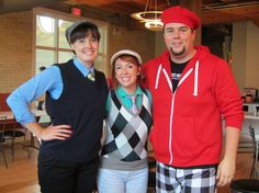 Melinda, Nicki, and Mike pose for the camera at our Golf Day pizza lunch! #golf #Quarry
