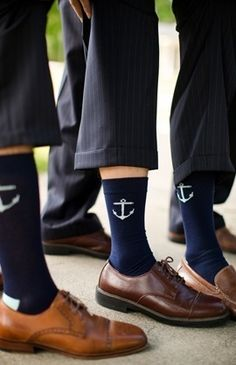 Anchor socks. Thank your groomsmen with socks that add a hidden element of nautical flair.