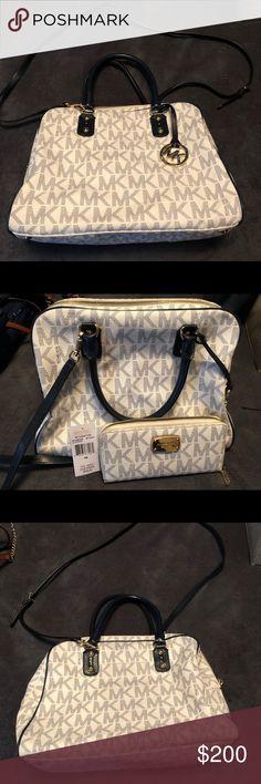 cf7a5b68d7 Michael Kors handbag and matching wallet EUC White and navy Michael Kors  handbag. Matching wallet