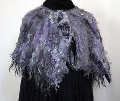 Gray eco-friendly warm bolero cape shrug wrap woman unique designer black dark grunge silver eco fur present winter wear wool unique gift
