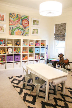 My kids bright and cheery playroom! Love the ikea toy storage and colorful bold print on the wall! They love this playroom! Playroom Design, Playroom Decor, Playroom Ideas, Colorful Playroom, Playroom Furniture, Playroom Table, Office Decor, Bedroom Furniture, Furniture Ideas